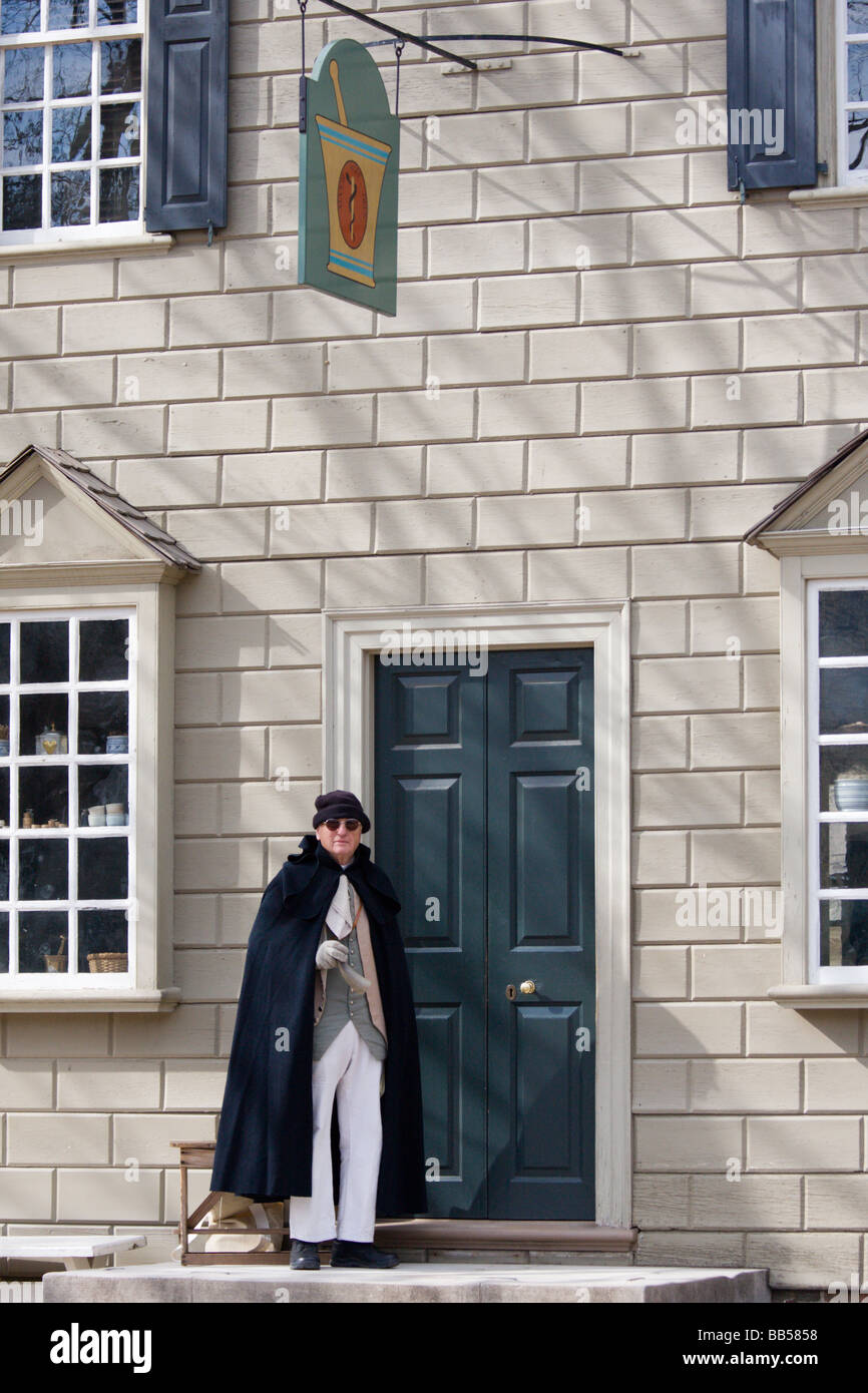 Periode Schauspieler in Colonial Williamsburg, Virginia. Stockbild