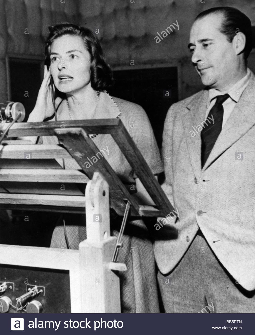 Bergman, Ingrid, 29.8.1915 - 29.8.1982, schwedische Schauspielerin, mit Ehemann Roberto Rossellini, im Tonstudio, Stockbild