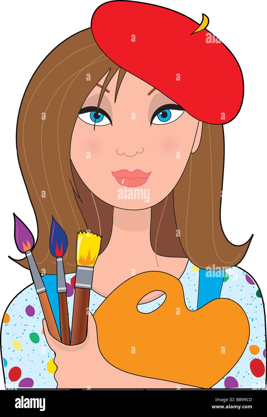 Ein junger weiblicher kaukasischen Künstler hält eine Palette und Pinsel Stockbild