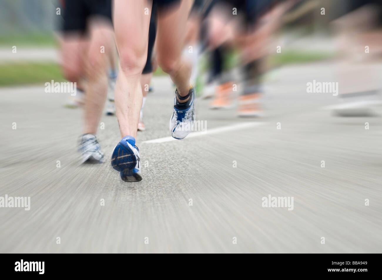 Marathon-Läufer mit Motion blur Stockbild
