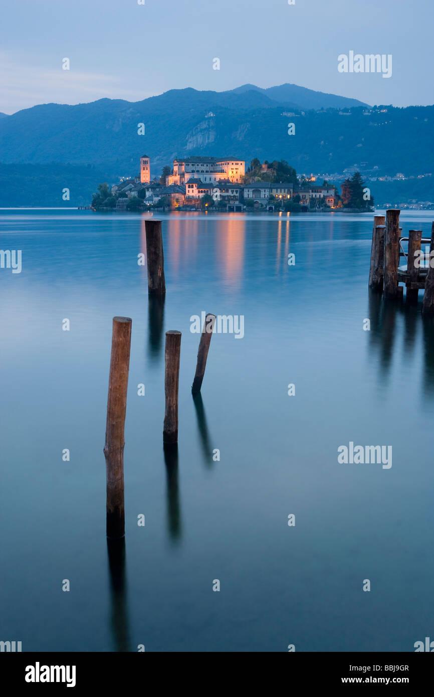 Isola di San Giulio, Ortasee, italienische Seen, Piemont, Italien Stockbild