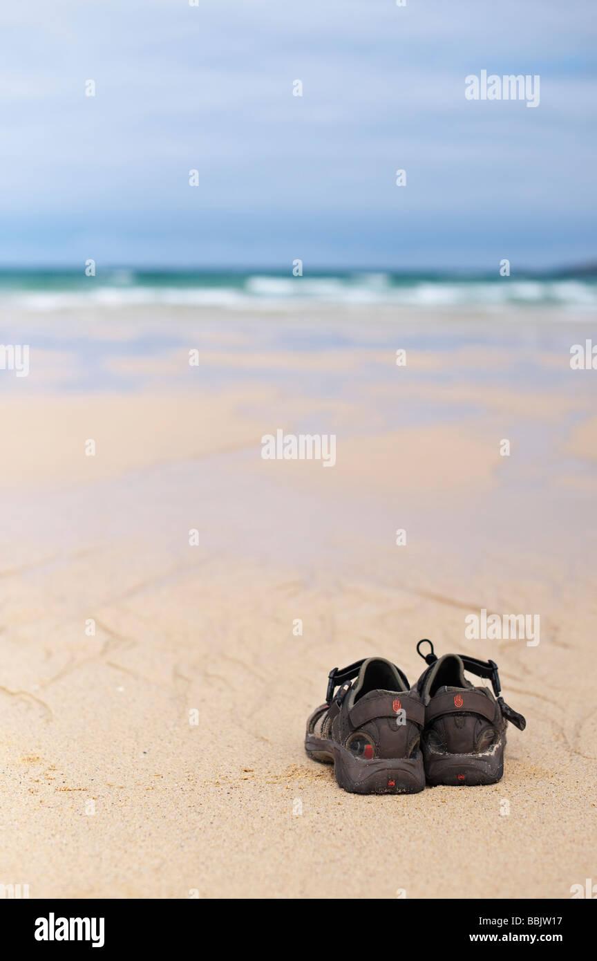Sandalen auf Traigh Scarista Strand, Isle of Harris, äußeren Hebriden, Schottland Stockbild