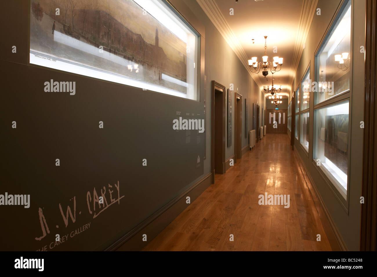 der J-w Carey Galerie Korridor im Inneren des frisch renovierten Ulster Hall Veranstaltungsort in Belfast Nordirland Stockbild