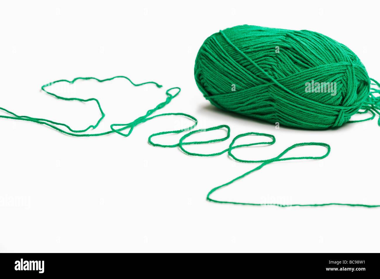 Grüne Wolle Rechtschreibung das Wort Schaf Stockbild