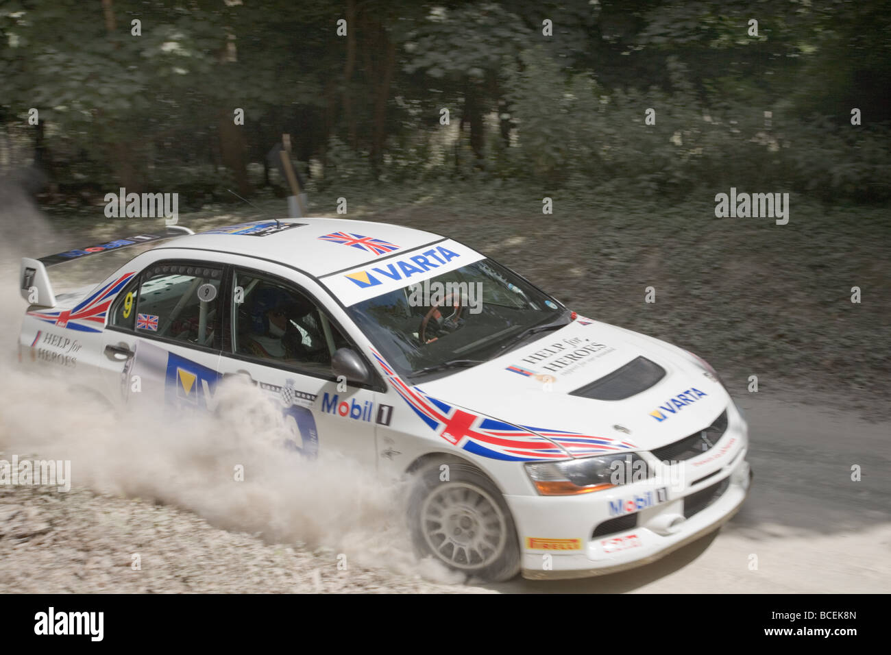 Rallye-Auto auf dem Goodwood Festival of Speed 2009 Motion blur Stockbild