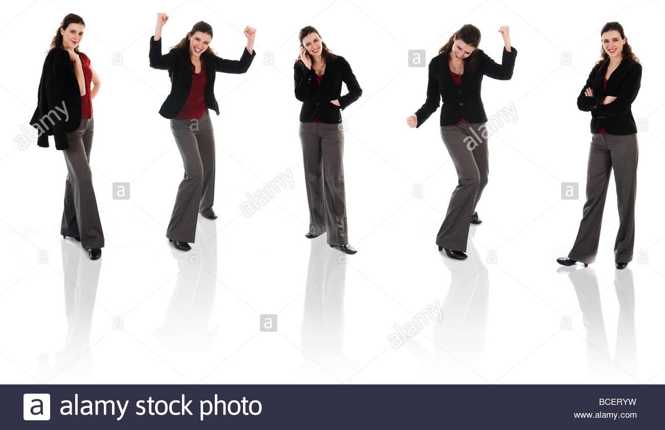 glücklich Geschäftsfrau auf einem isolierten weißen Hintergrund stellt Stockbild