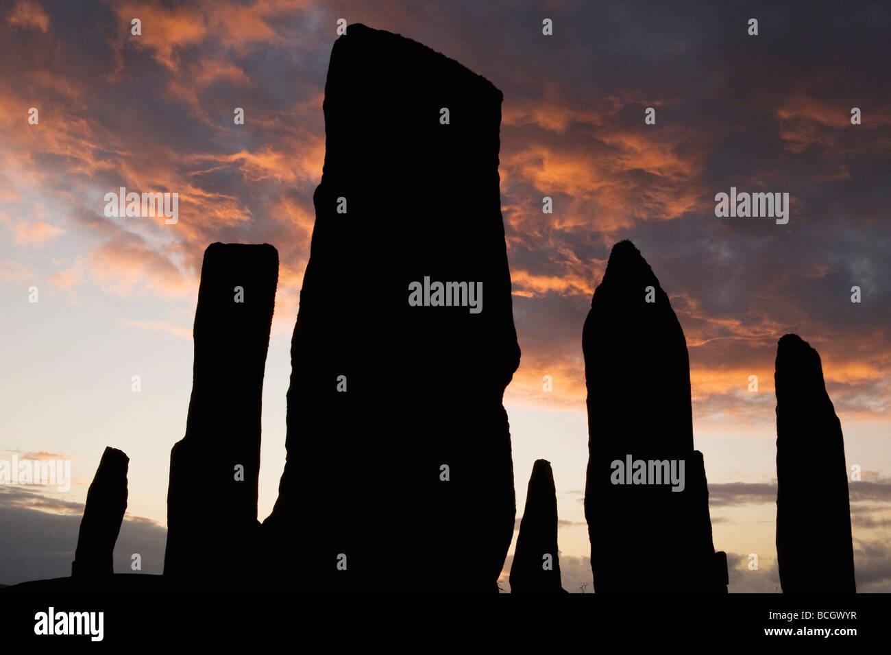 Callanish Steinkreis, neolithische Menhire, Sonnenuntergang am Sommer-Sonnenwende, Isle of Lewis, äußeren Stockbild
