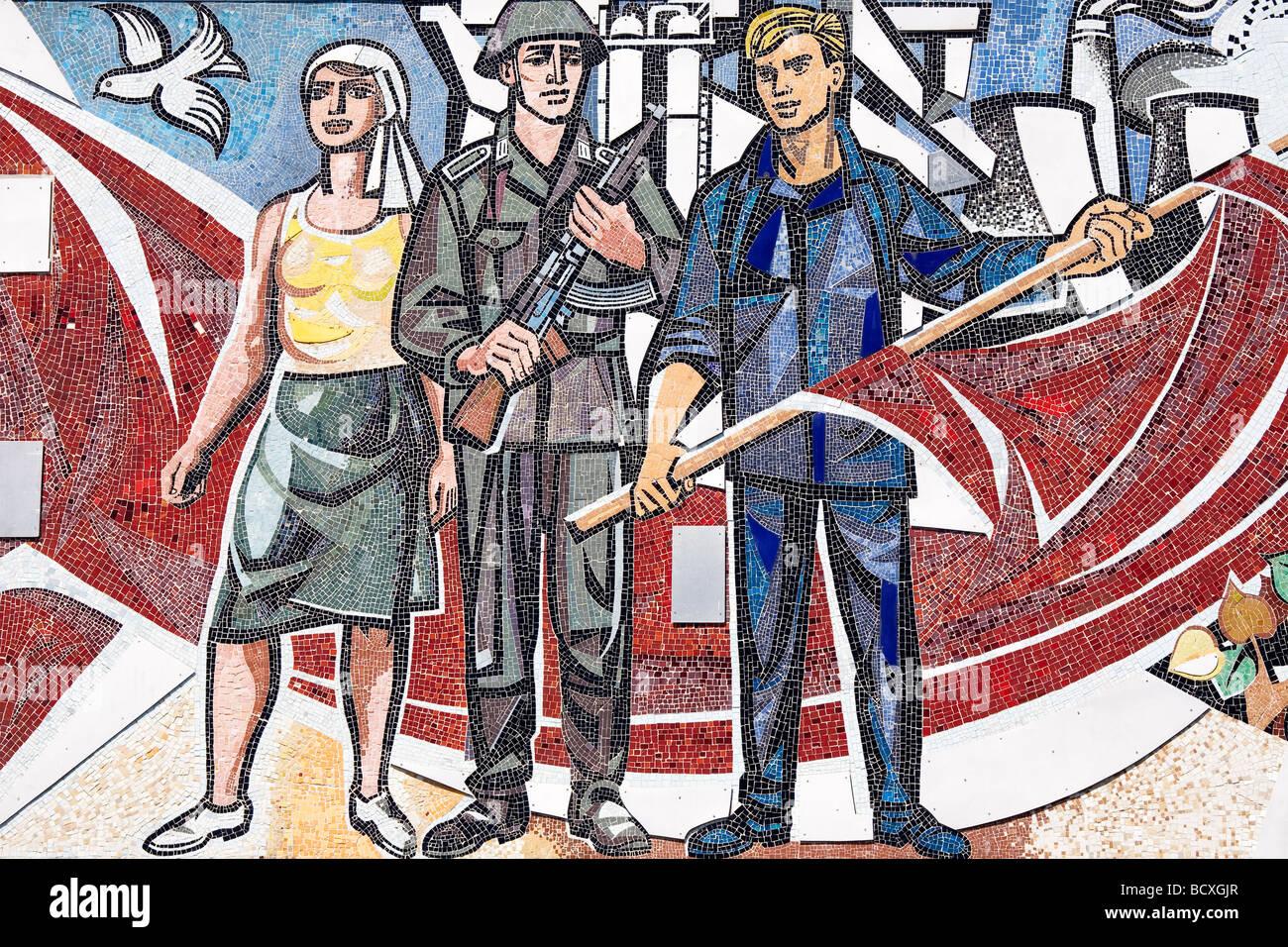 """Haus des Lehrers Detail aus Mosaik Einfrieren """"Unser Leben"""" von Walter Womacka, Berlin, Deutschland Stockbild"""