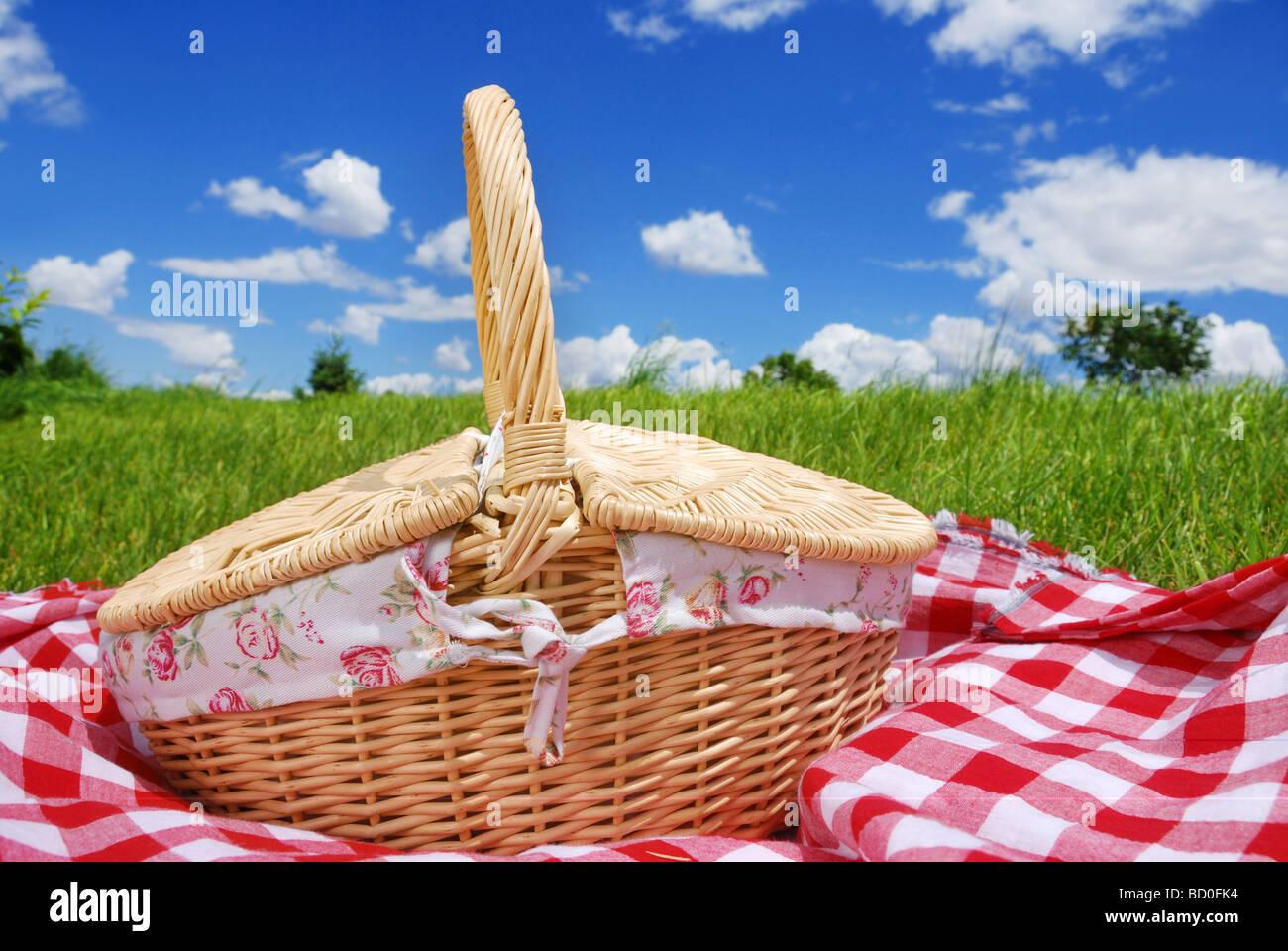 Picknick-Einstellungen auf Wiese Stockbild