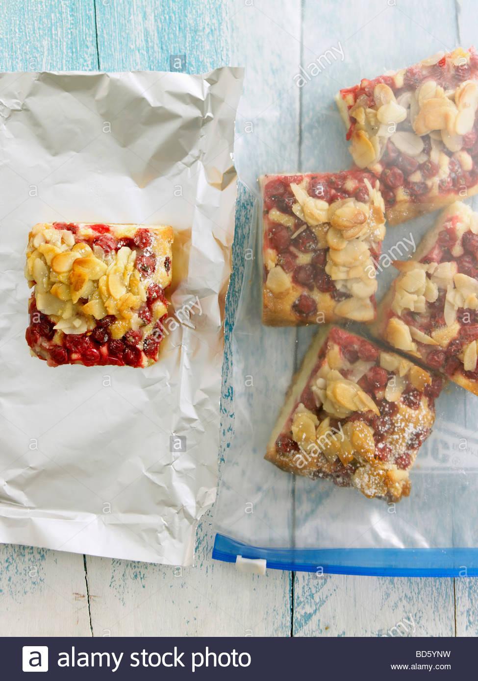 Johannisbeeren Kuchen Verpackt Zum Einfrieren Stockfoto Bild