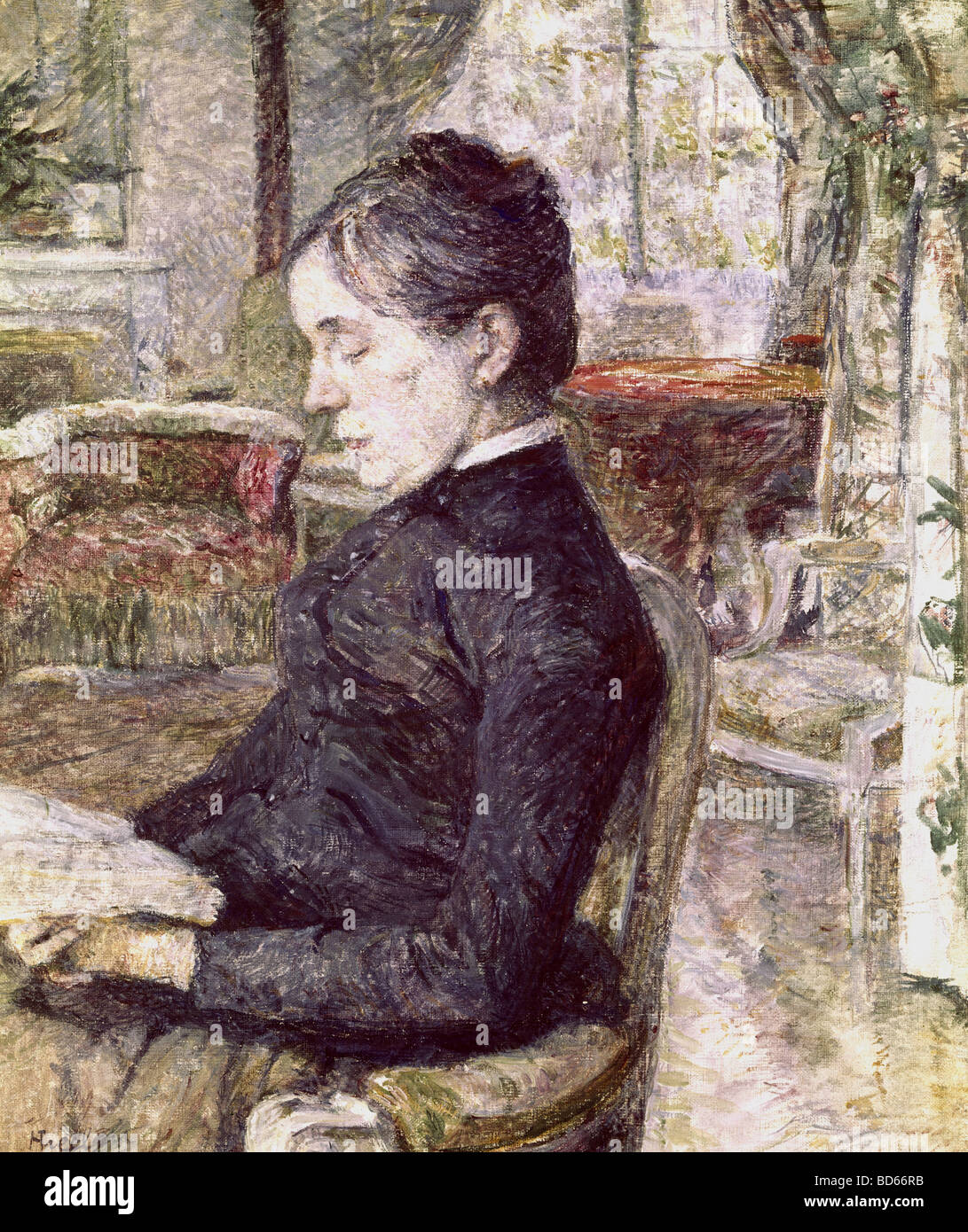 Bildende Kunst, Toulouse-Lautrec, Henri de (1864-1901), Malerei, Porträt seiner Mutter in der Stube des Schloss Stockbild