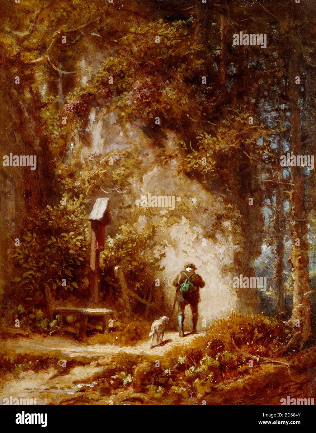 Bildende Kunst, Spitzweg, Carl (1808 ? 1885), Malerei, Jäger im Wald, Wimmer-Galerie, München, Holz, Wald, Stockbild