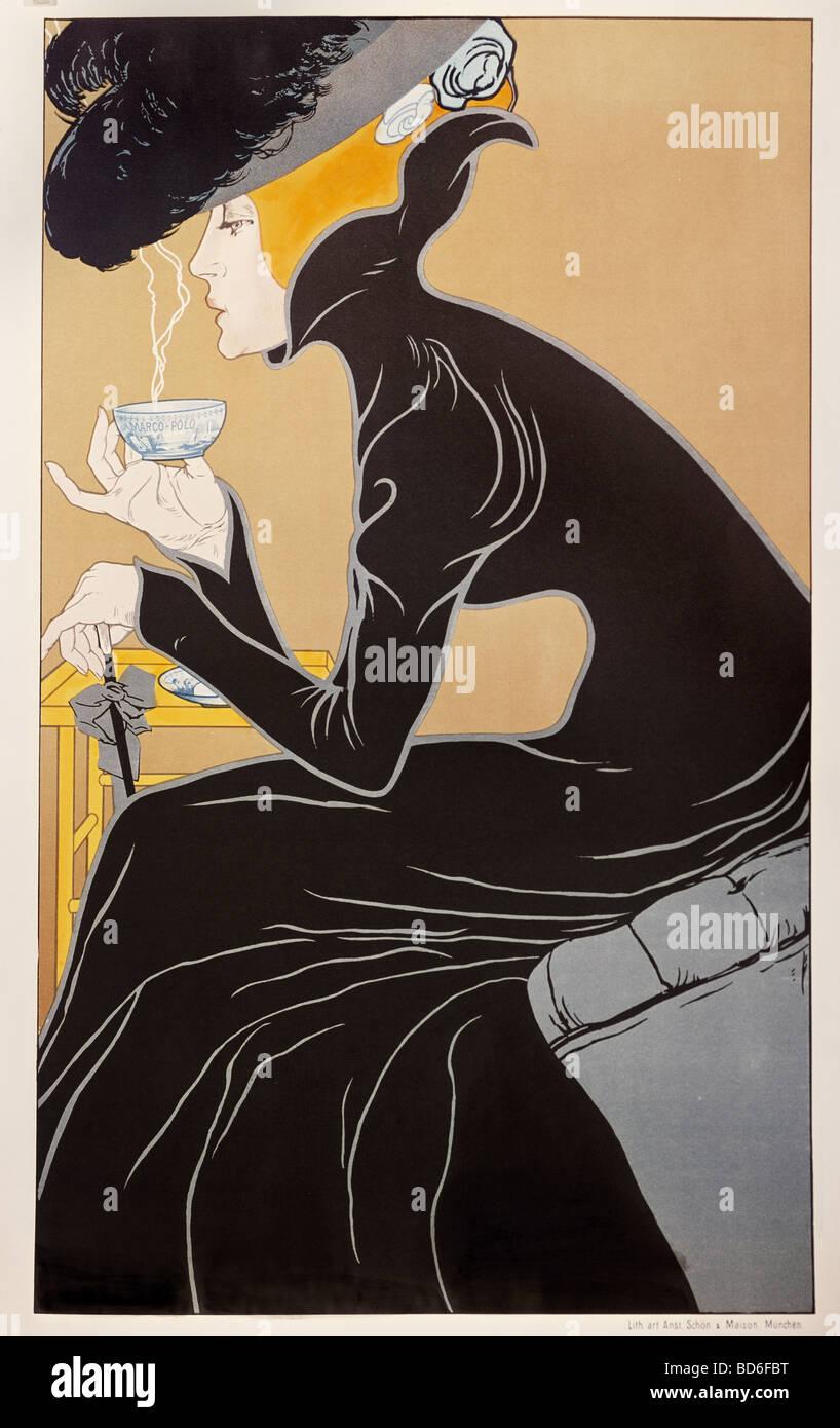 """Bildende Kunst, Mucha, Alfons Maria, 24.7.1860 - 14.7.1939, Grafik, """"Tee Trinkende Dame"""" (Tee-Dame), Werbung für Stockfoto"""