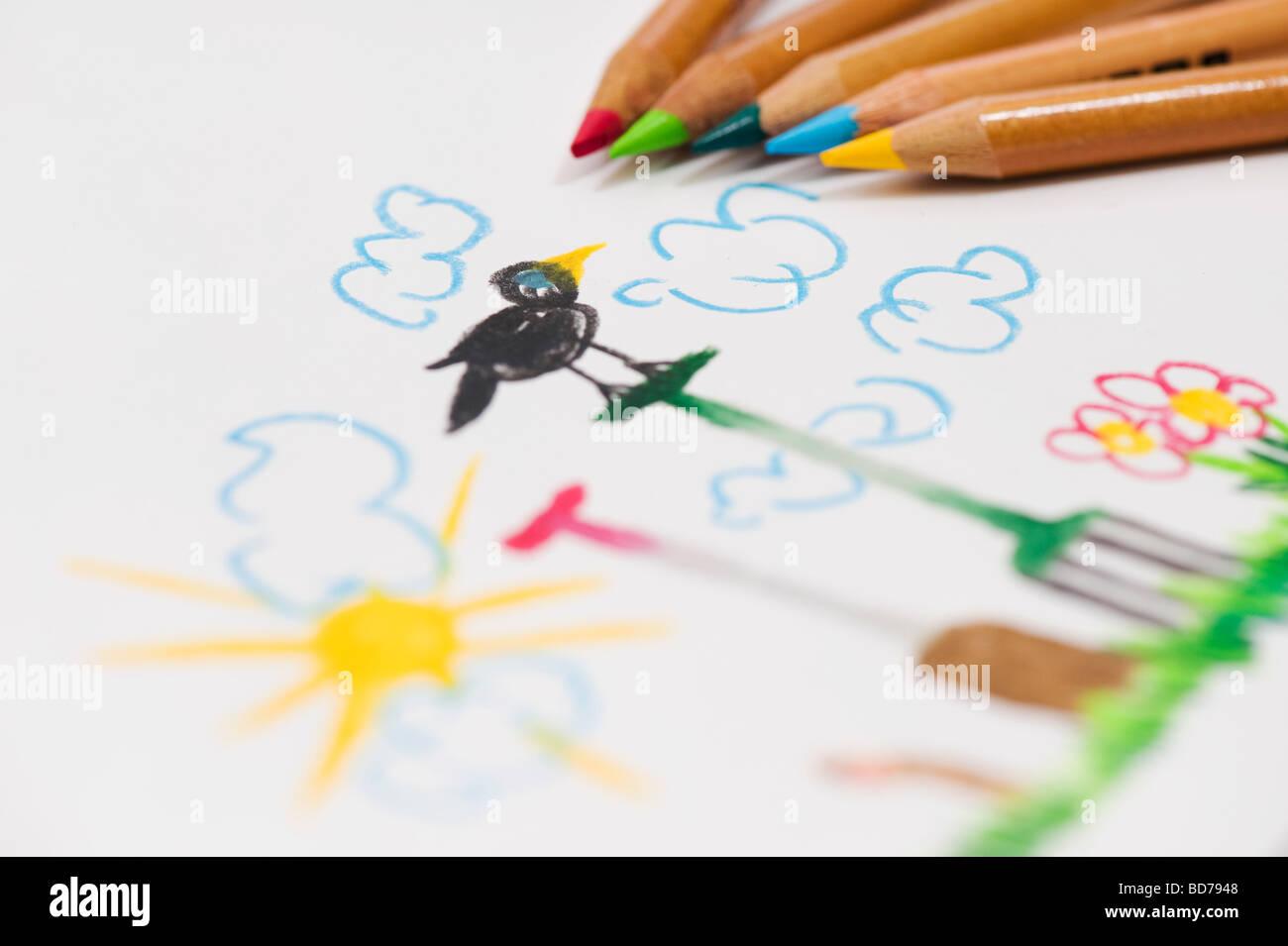 Garten-Szene mit Gartengeräten, Kind mit Farbstiften Zeichnung Stockbild