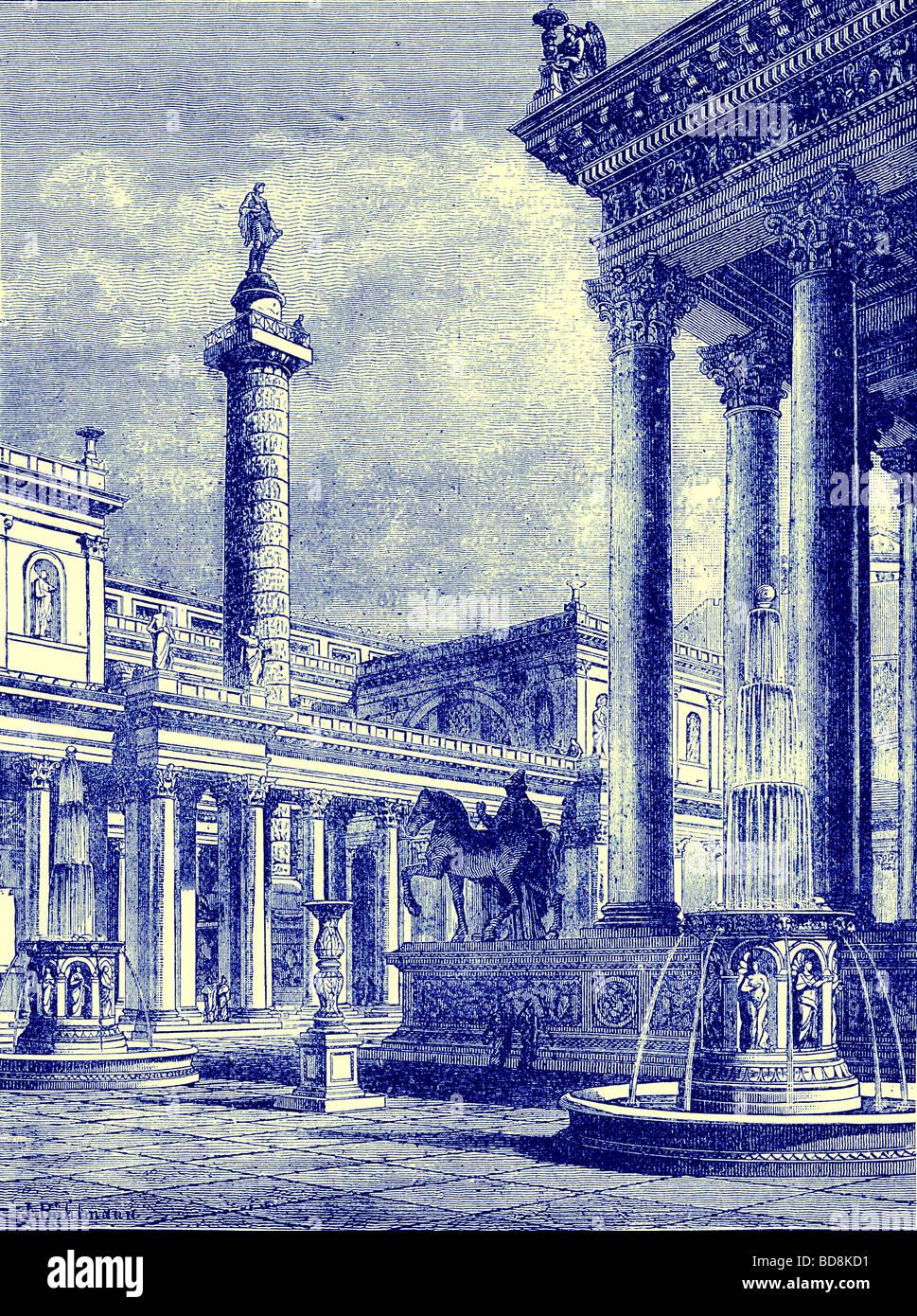 Das Forum und die Spalte von Trajan Illustration von Cassell s Illustrated Universalgeschichte von Edward Ollier Stockfoto