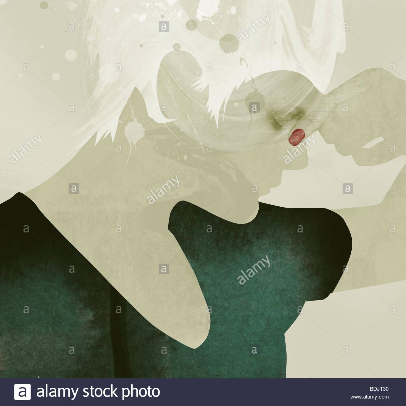 Frau mit Augen geschlossen kneifen Nase Stockfoto
