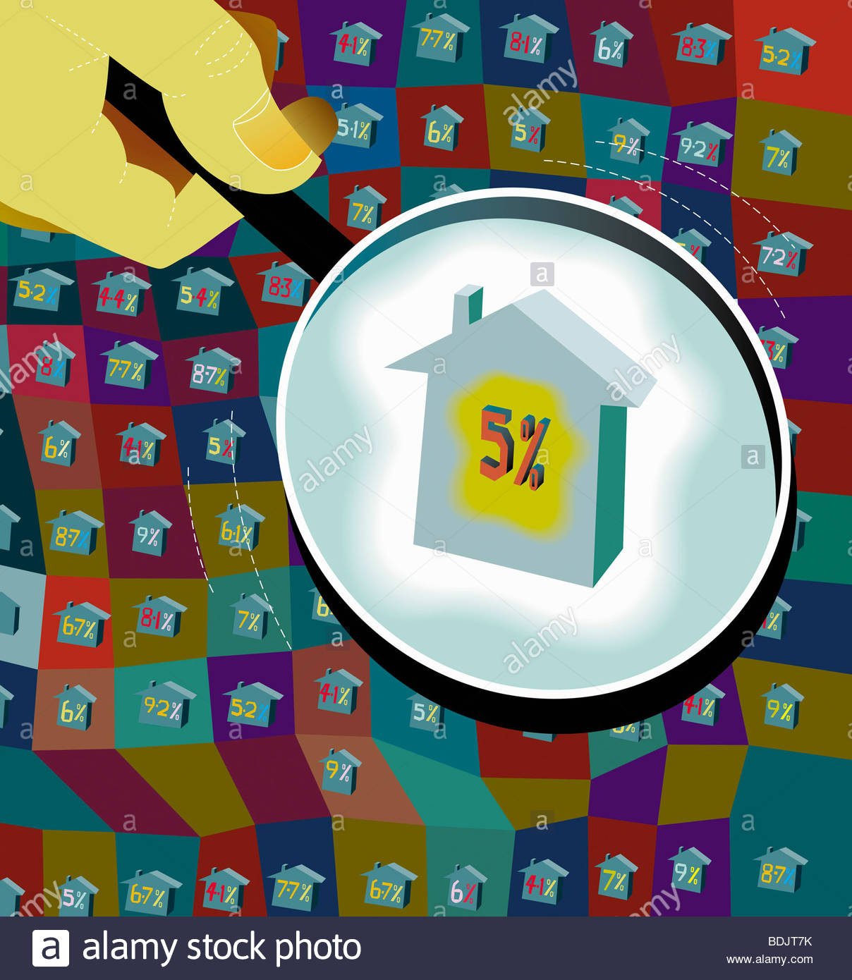 Hand-Lupe Haus Zinssätze Stockbild