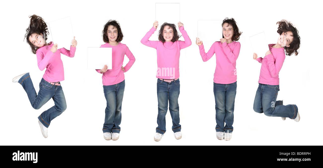 Viele Posen eines Kindes mit einem leeren Schild für Ihren Text Stockbild