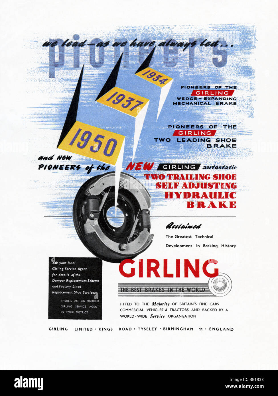 1951-Werbung für Girling Bremsen Stockbild