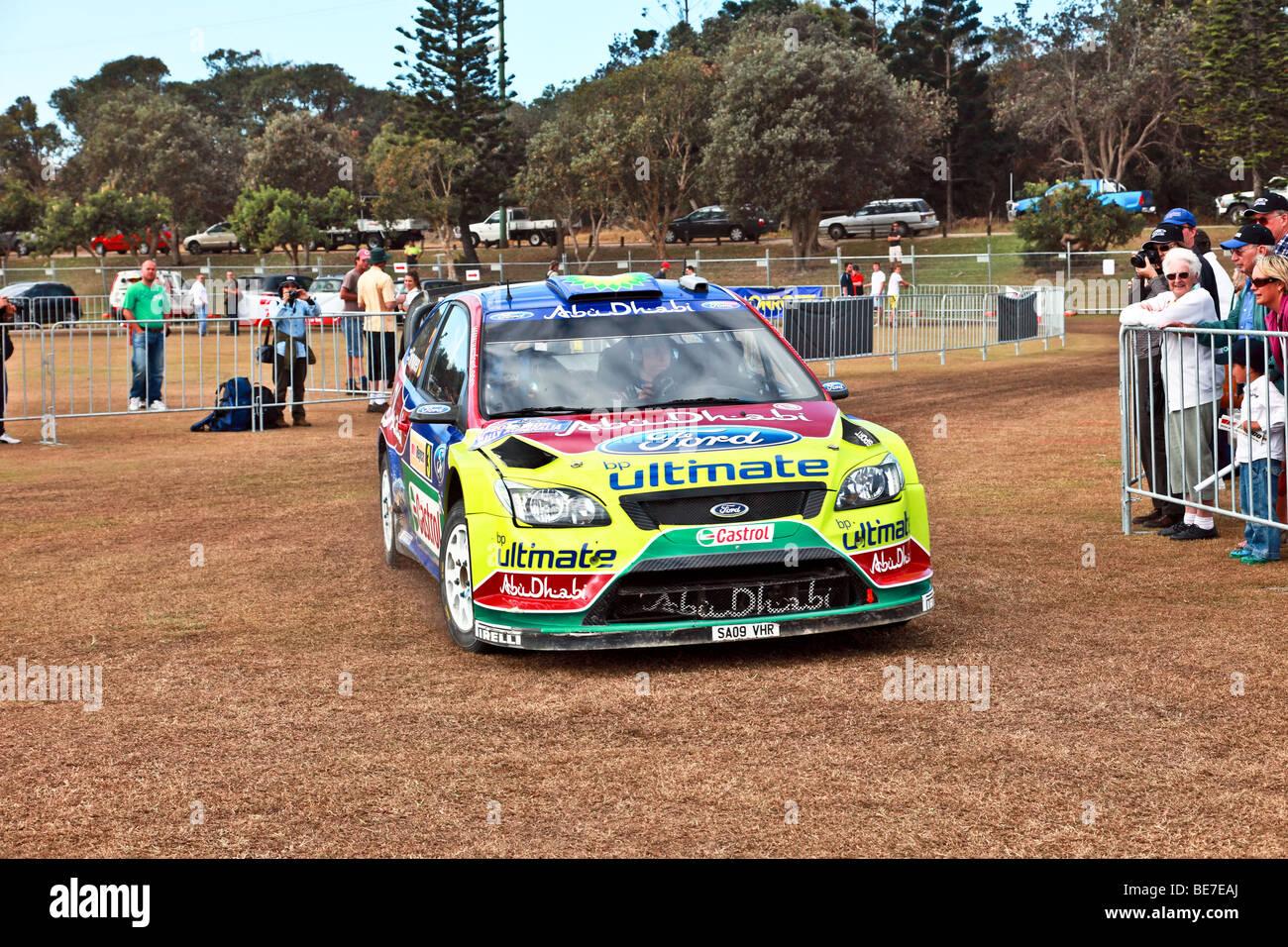 Motorsport/Rallye Australien 2009/WRC Rallye-Auto Einzug in seinen Boxenstopp Stockbild