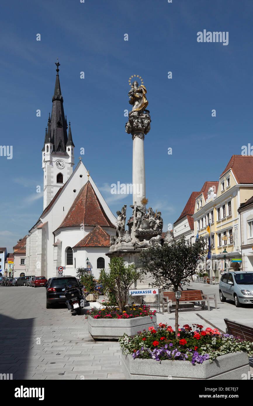 Pfarrkirche, Innenstadt von Horn, Waldviertel, Niederösterreich, Österreich Stockfoto