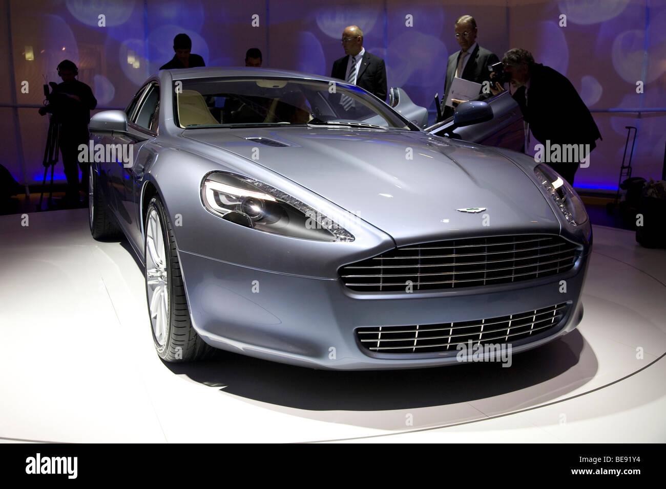 Aston Martin Rapide an einem europäischen motor show Stockbild