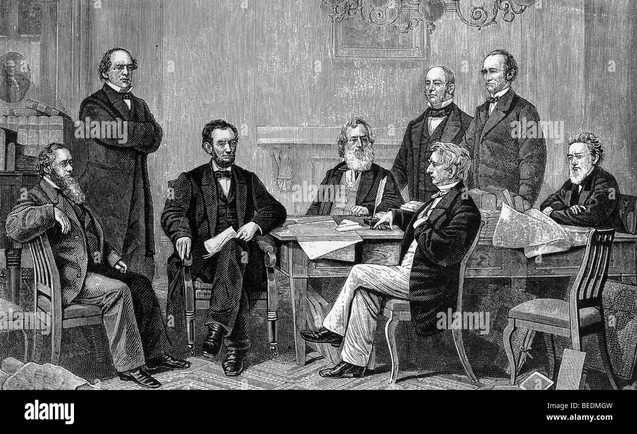 ABRAHAM LINCOLN (Dritter von links) mit seinem Kabinett im Jahre 1854 Stockbild