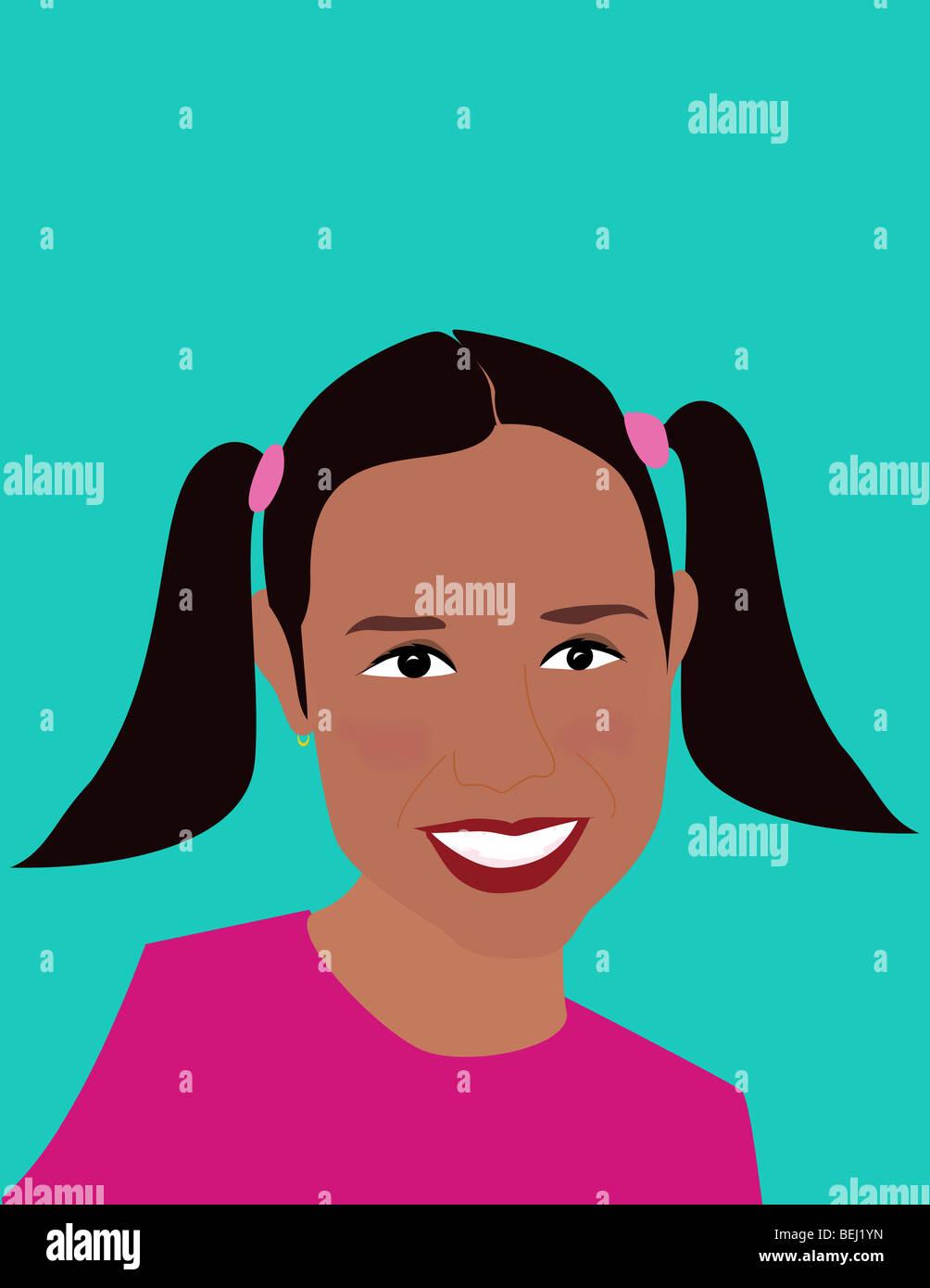 Nahaufnahme eines lächelnden Mädchens Stockbild