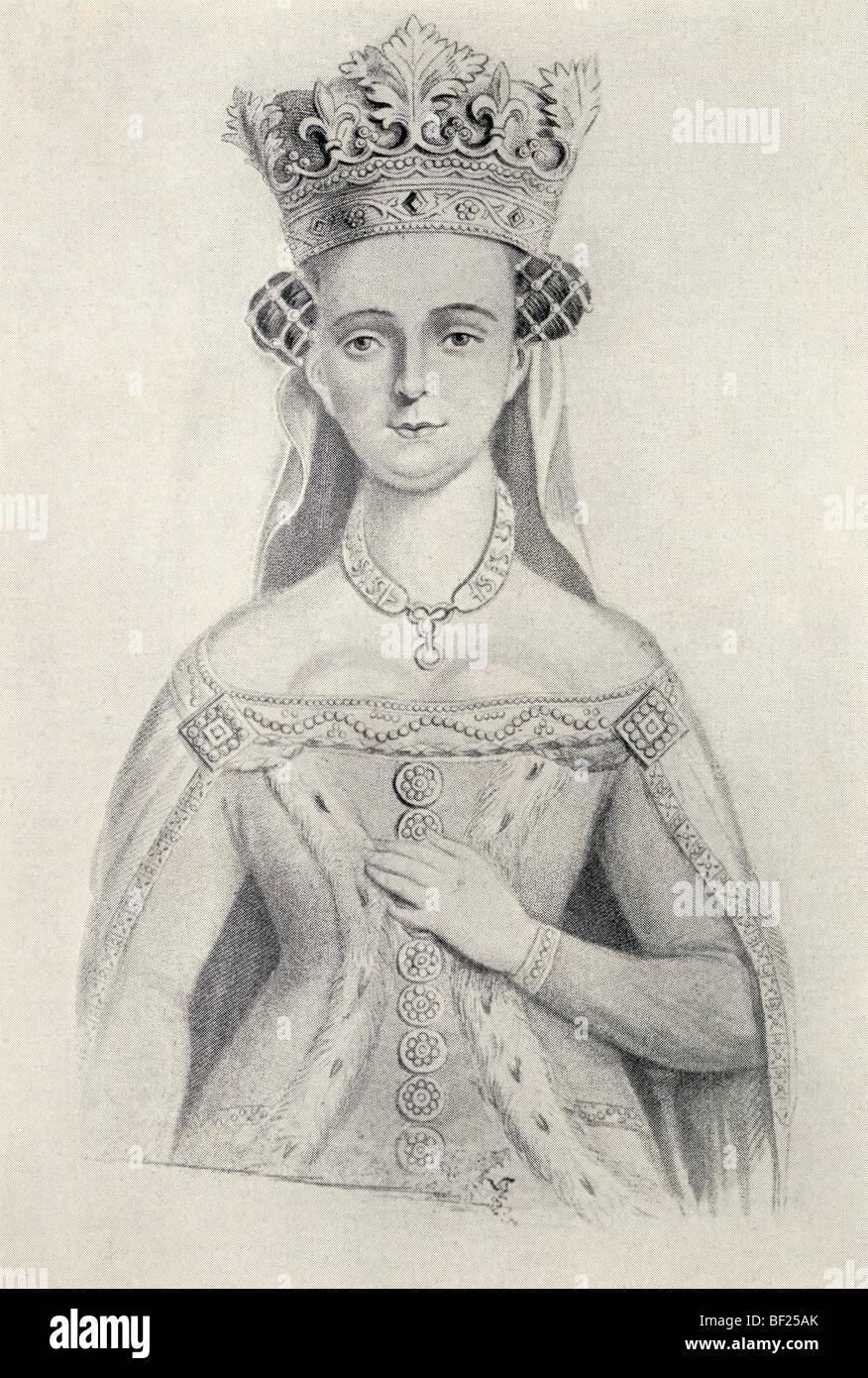 Johanna von Navarra ca.. 1370, 1437. Queen Consort von England durch die Heirat mit König Henry IV von England. Stockbild