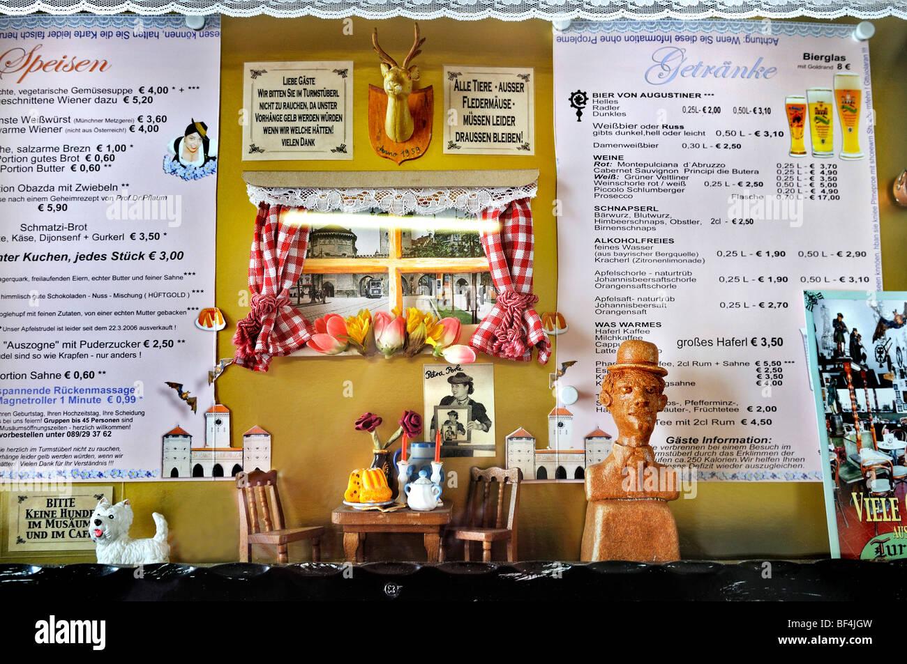 Essen und trinken Menüs, Valentin Karlstadt Musaeum am Isartor Tor, München, Bayern, Deutschland, Europa Stockbild