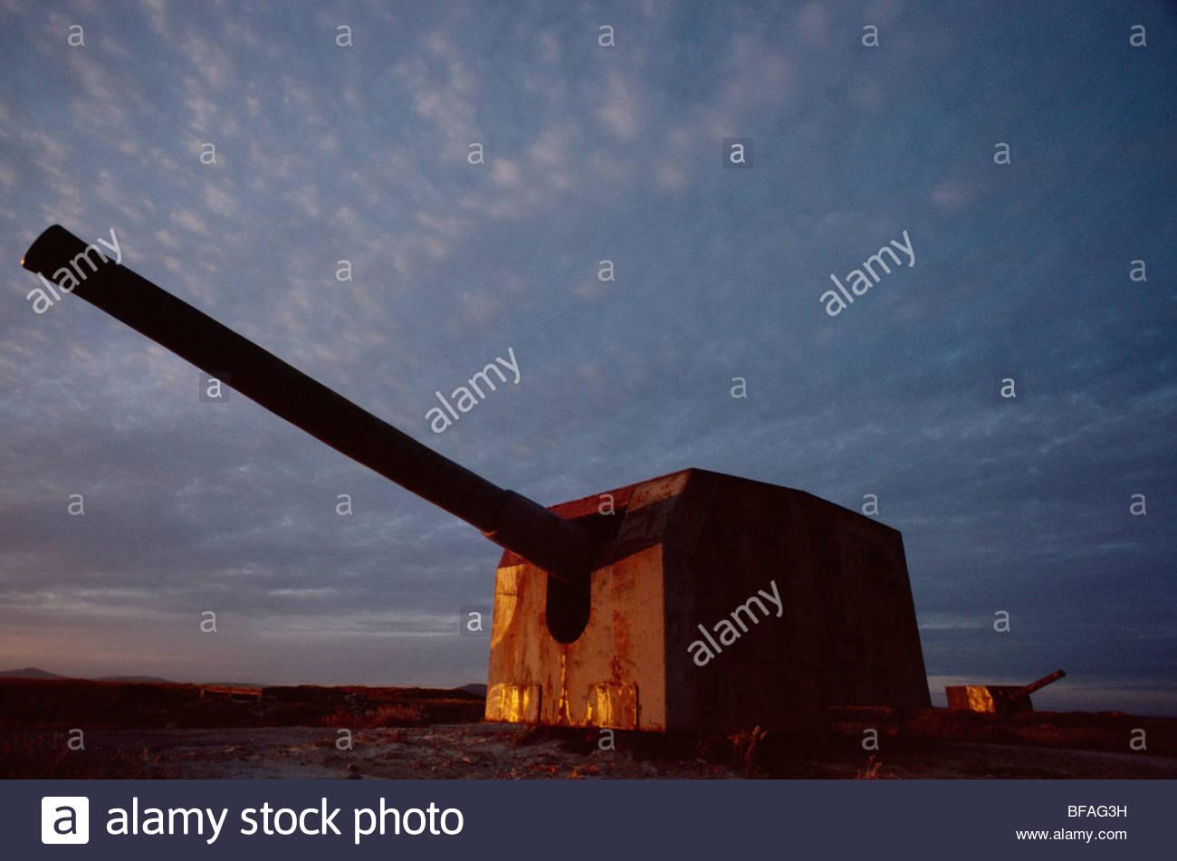Militärischen Artillerie, Falkland-Inseln Stockbild