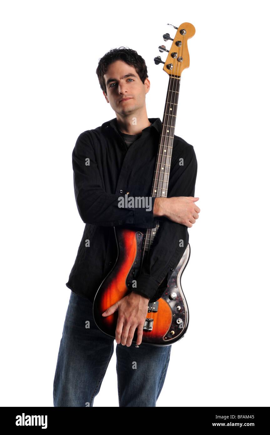 Bassist posiert isoliert auf weißem Hintergrund Stockbild