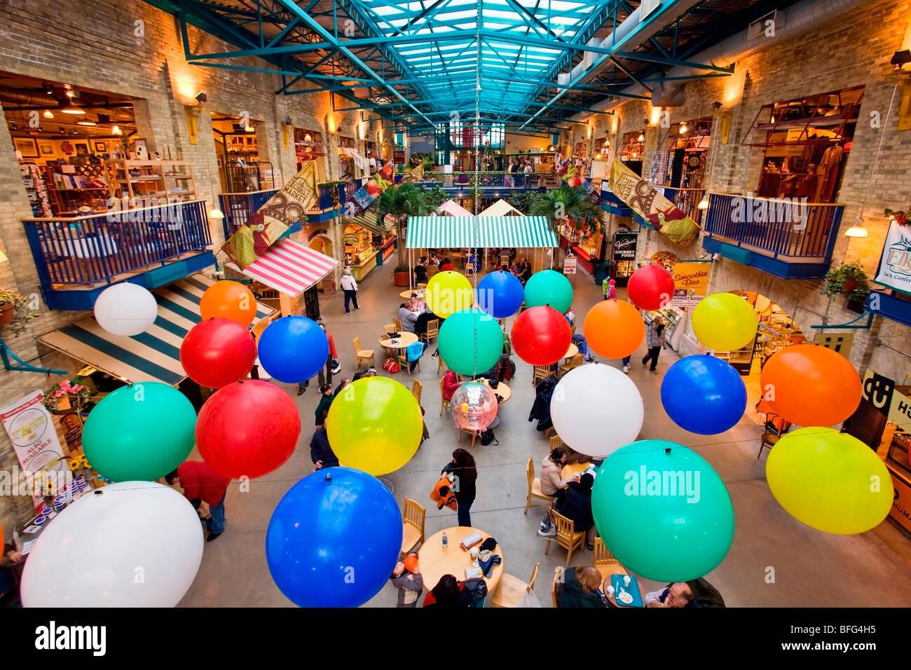 In den Gabeln Markt im Zentrum von Winnipeg, Manitoba, Kanada. Stockbild