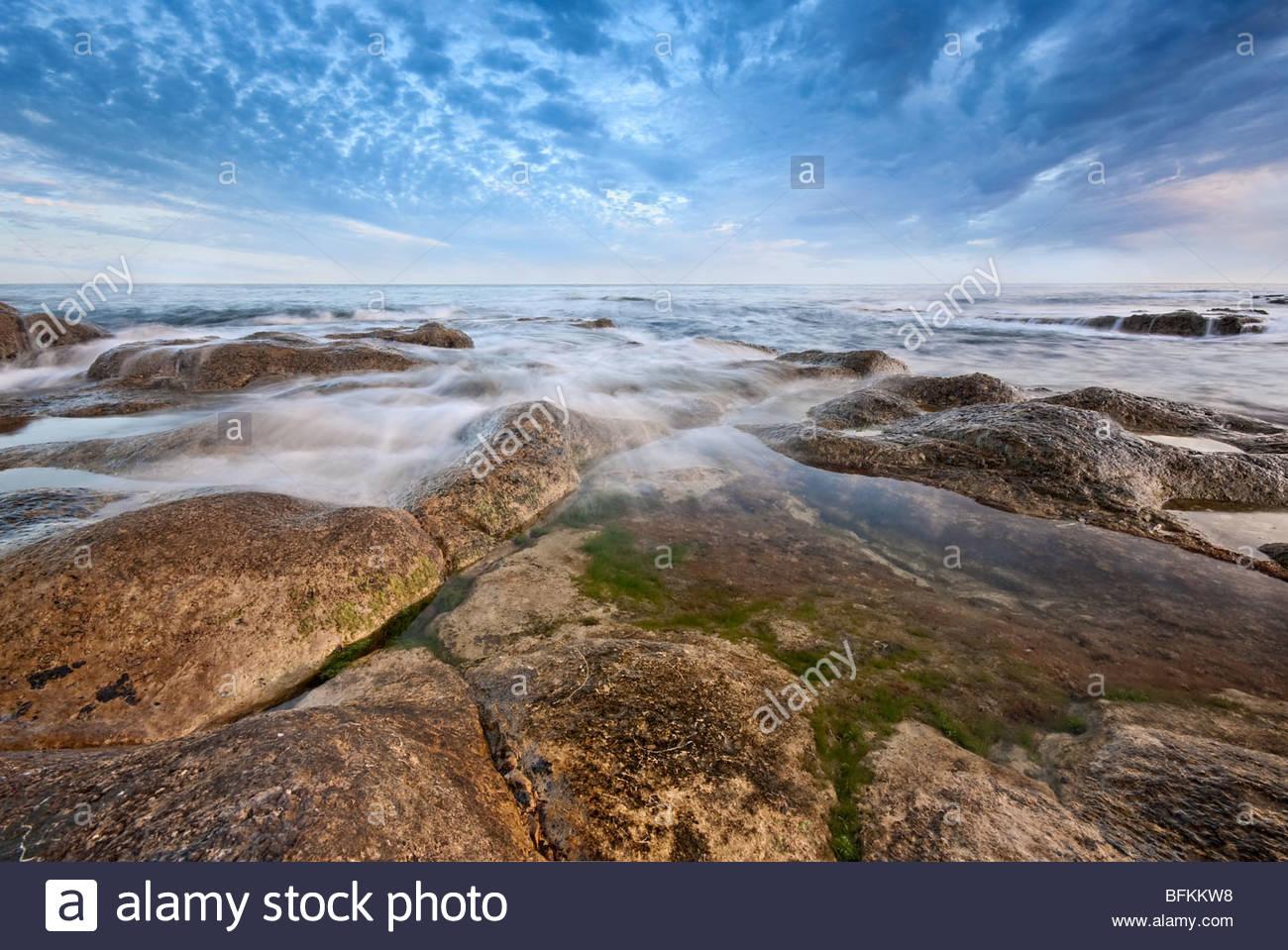 Schönheit-Morgendämmerung am Winspit, Isle of Purbeck, Dorset. Stockbild