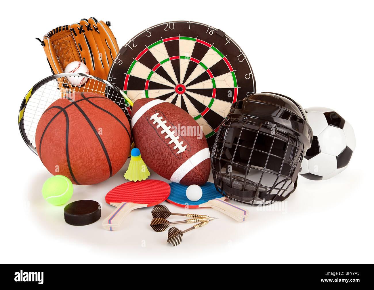 Dies ist eine Anordnung von mehreren Sport-Artikel. Stockbild