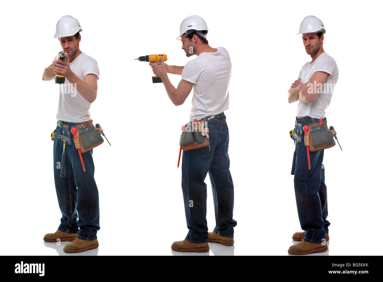 Drei Schüsse eines Erbauers in verschiedenen Posen, einen Hut Werkzeug Gürtel und Sicherheit, isoliert Stockbild