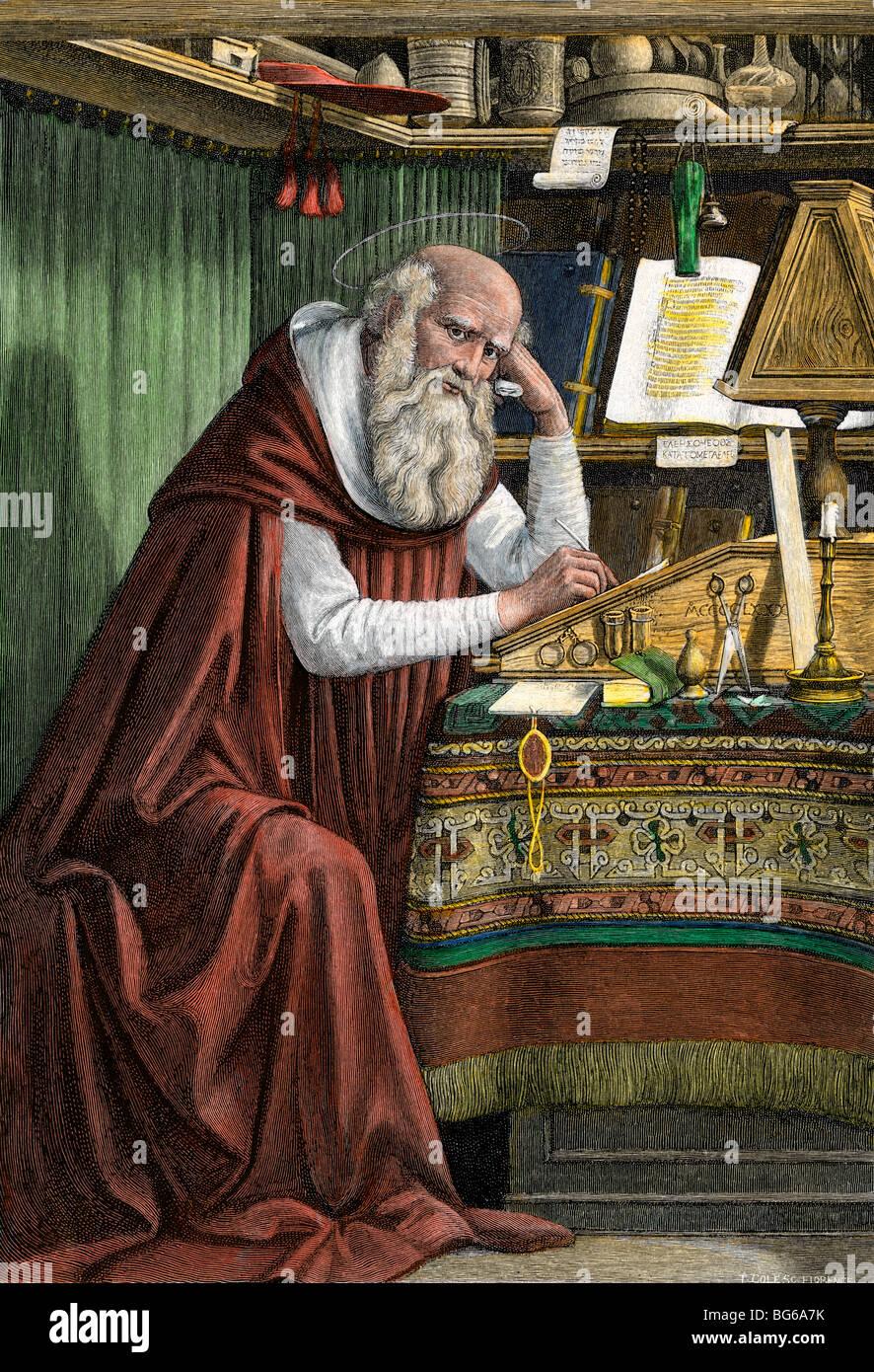 Der Heilige Hieronymus Übersetzung der Bibel ins lateinische, die Vulgata genannt Stockbild