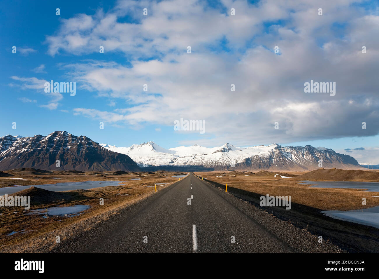 Straße Nr. Jokusarlon, Nr. Hofn, S.Iceland Stockbild