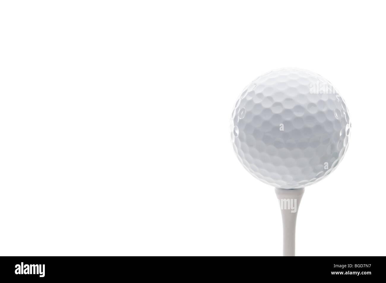 Horizontale Nahaufnahme eines Golfballs auf einem t-Shirt Stockbild