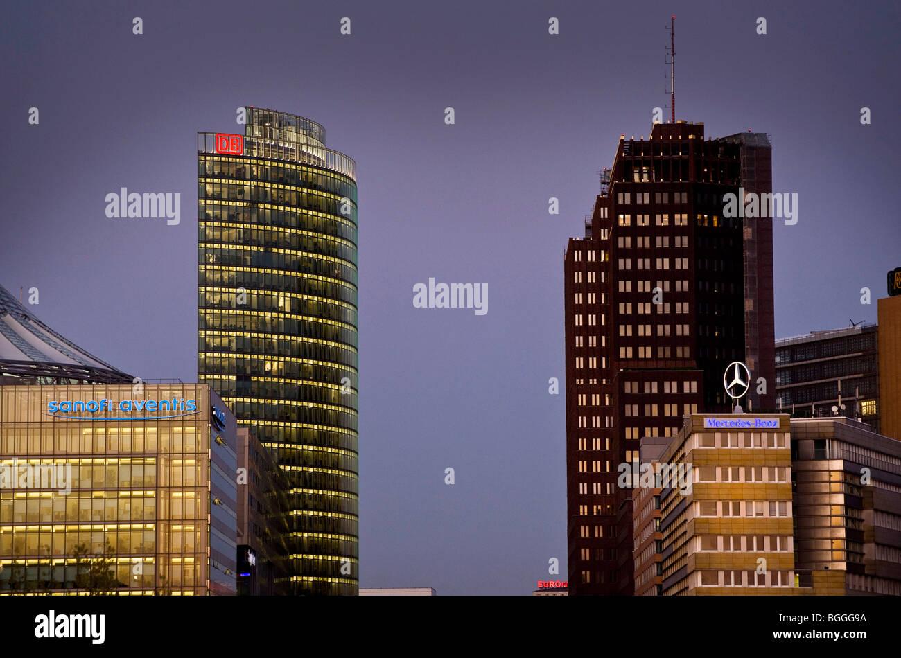 Turm der Deutschen Bahn, BahnTower am Potsdamer Platz, Potsdamer Platz, Berlin, Deutschland, Europa Stockbild