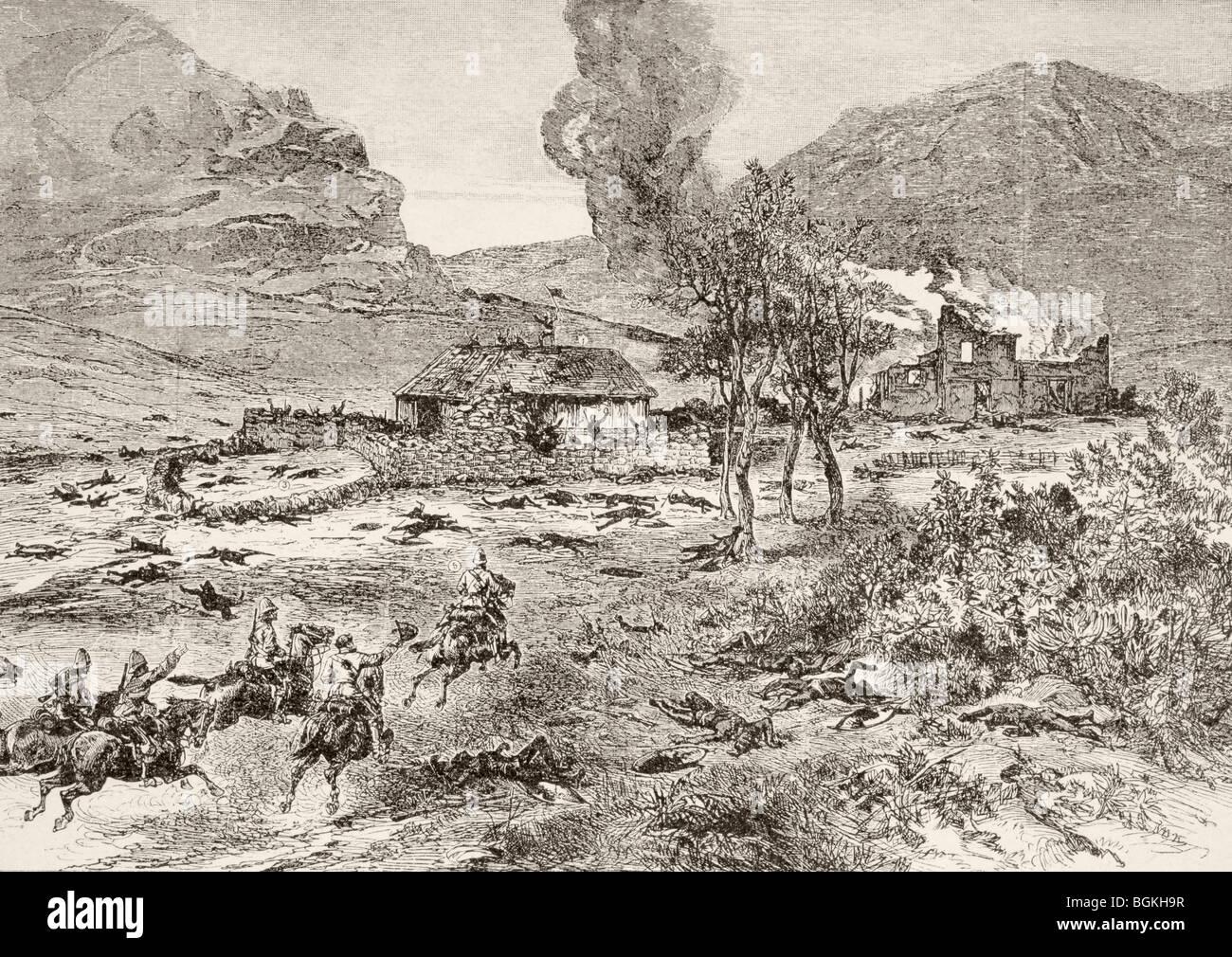 Die britische Entlastung Spalte kommt bei Rorke es Drift, Kwa-Zulu-Natal Provinz, Südafrika, nach der Schlacht. Stockbild