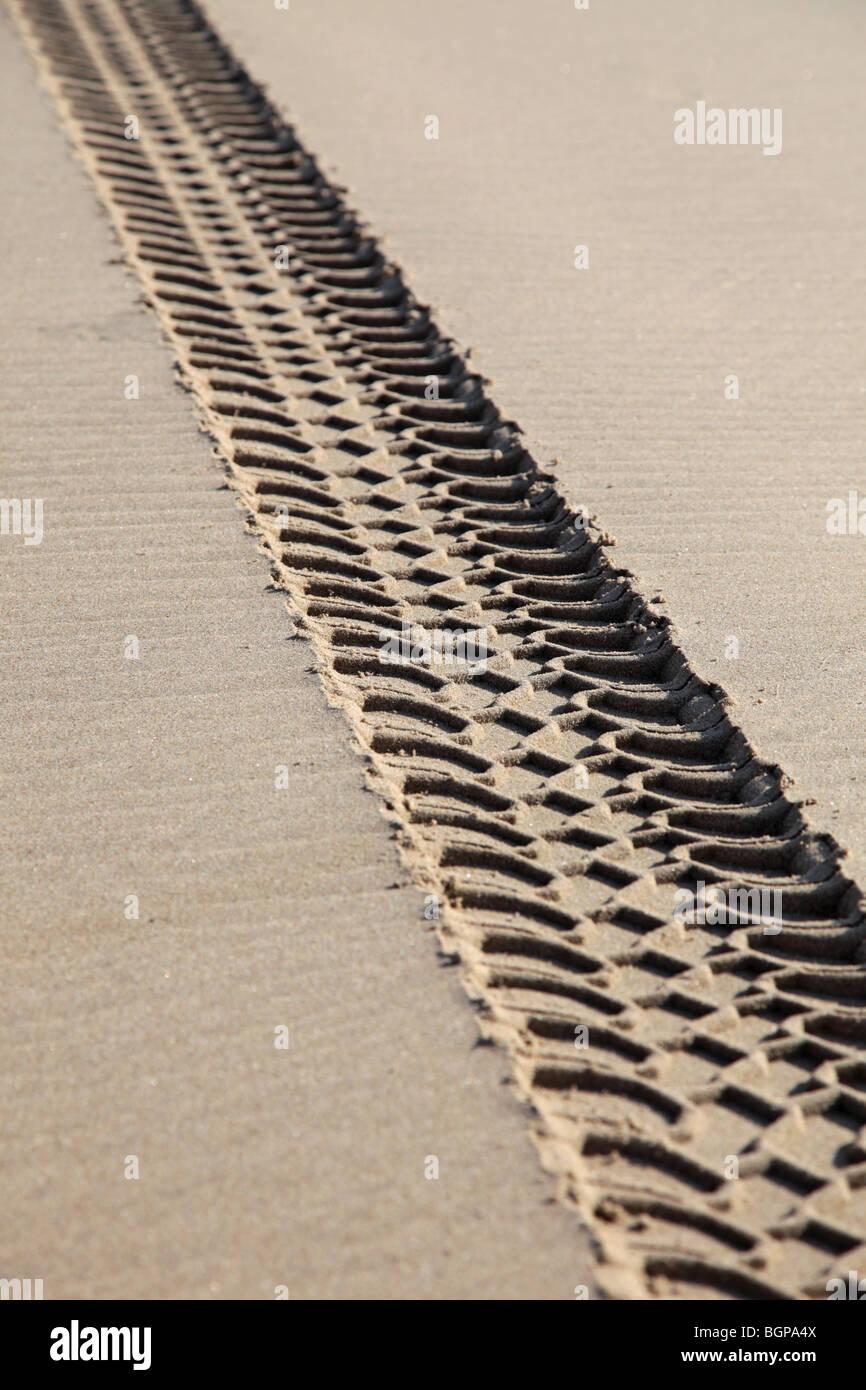 Fahrzeugspuren an einem Strand, die Schädigung der Umwelt Stockbild