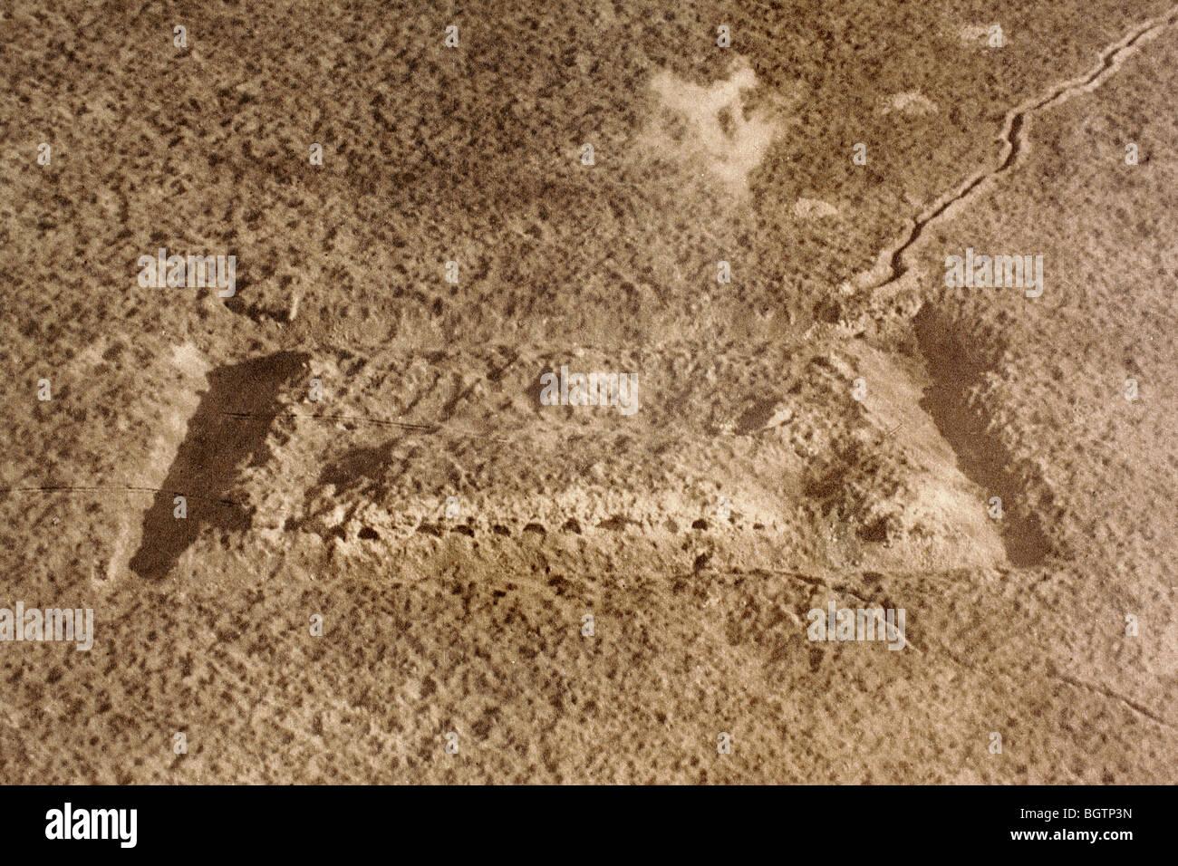 Luftbild zeigt Status des Fort de Vaux, Verdun, nach langwierigen Artillerie-Beschuss im Jahre 1916. Stockbild