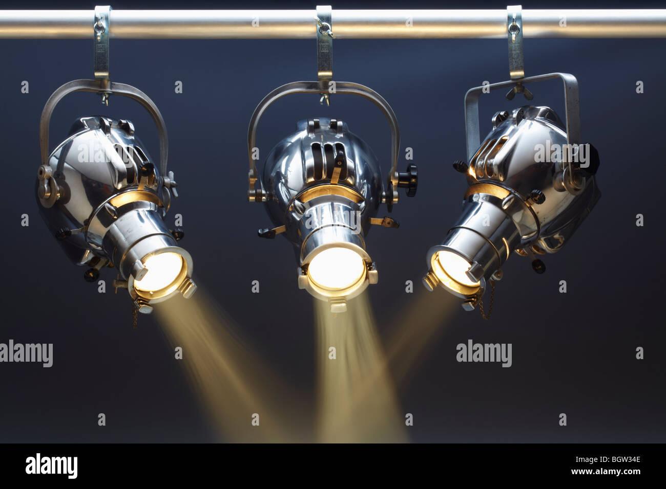 Drei Scheinwerfer Stockbild