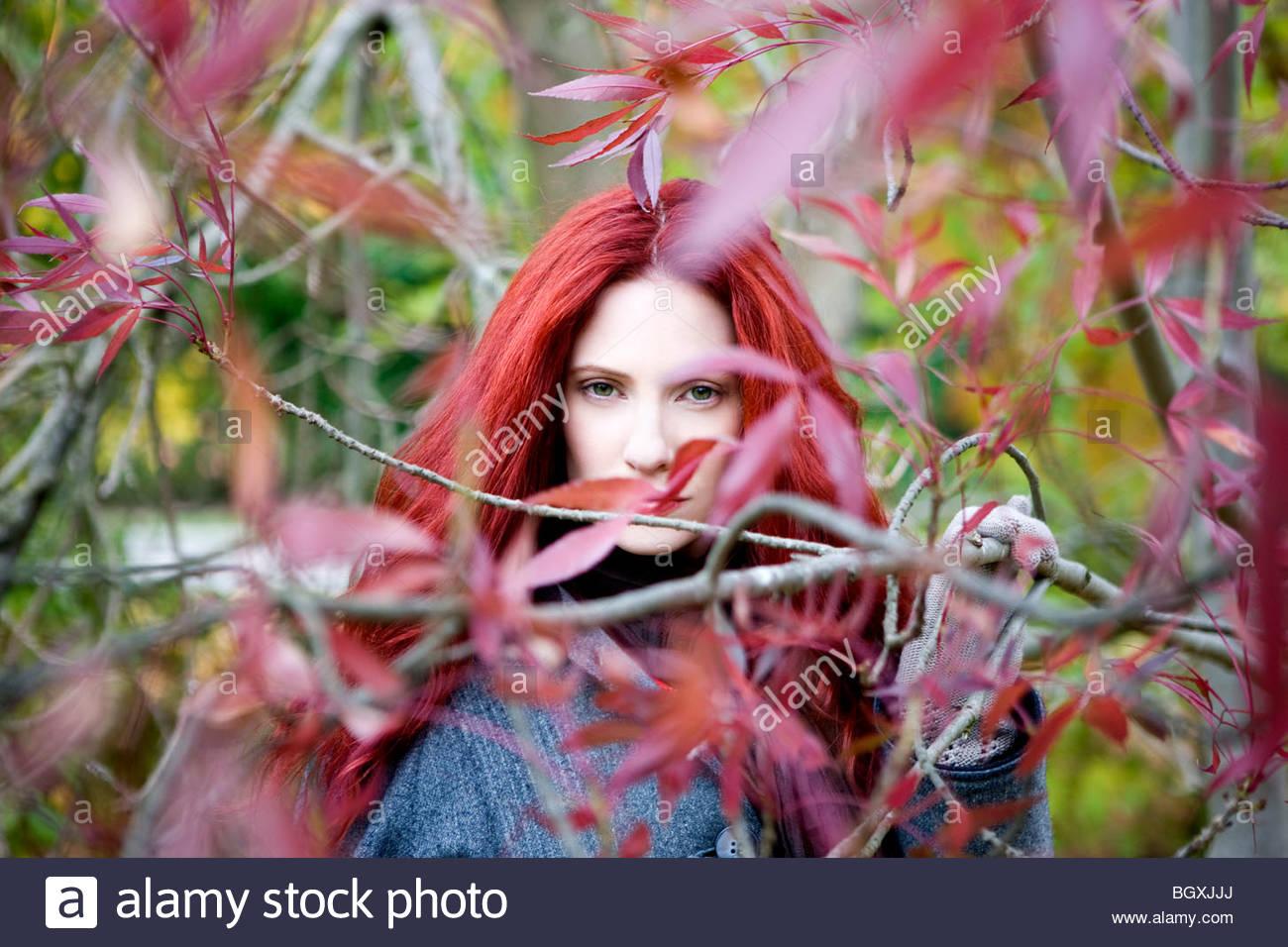 Eine junge Frau unter den Bäumen im Herbst Stockbild