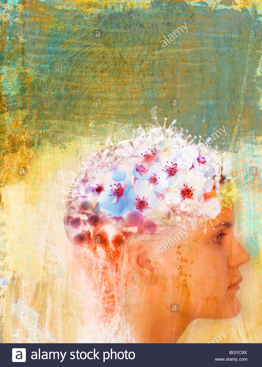Frau mit Blumen auf Kopf Stockfoto
