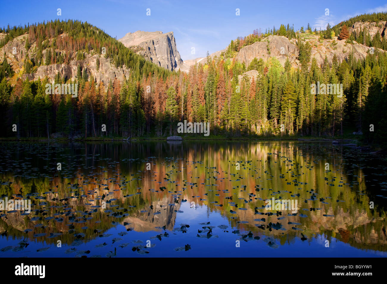 Nymphe See, Rocky Mountain National Park, Colorado. Stockbild