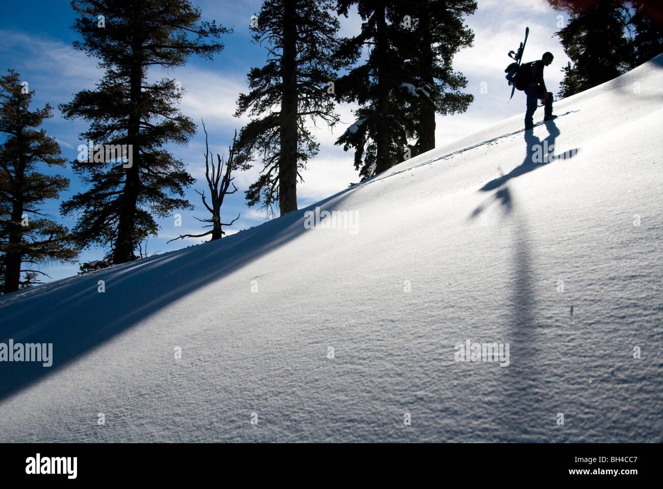 Ein junger Mann trägt ein Snowboard auf dem Rücken, während Wandern mit den Schneeschuhen auf einen Stockbild
