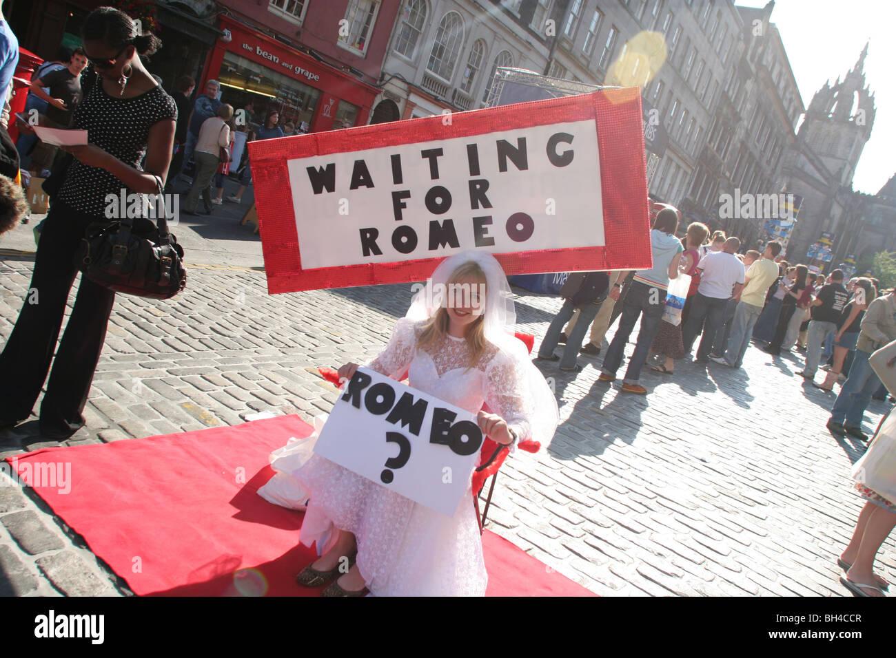 """""""Wartezeit für Romeo"""" Theater zeigen während des Edinburgh Festival Fringe, auf der """"Royal Stockbild"""