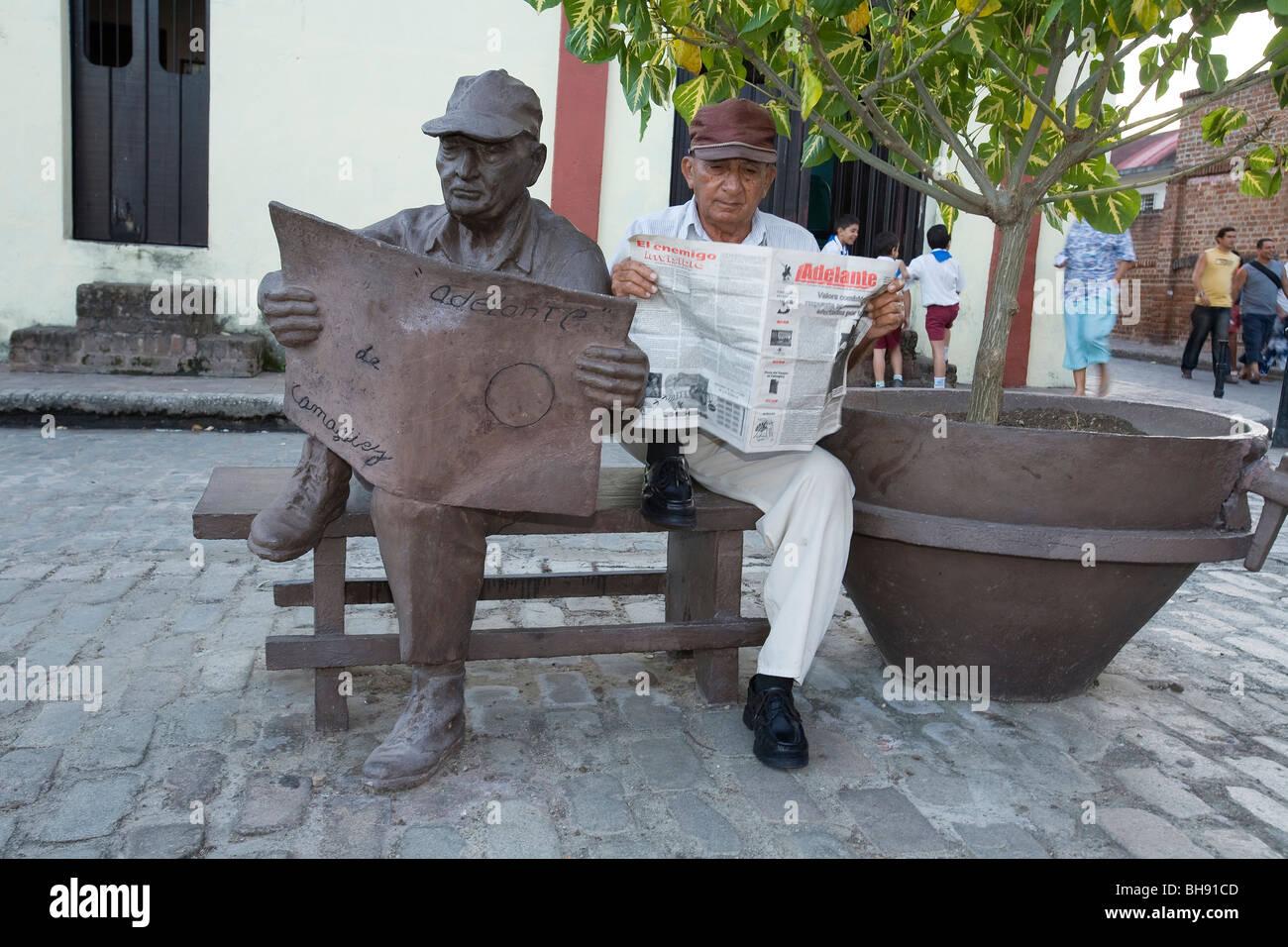 Straßenszene am Plaza del Carmen, Camagueey, Karibisches Meer, Kuba Stockbild